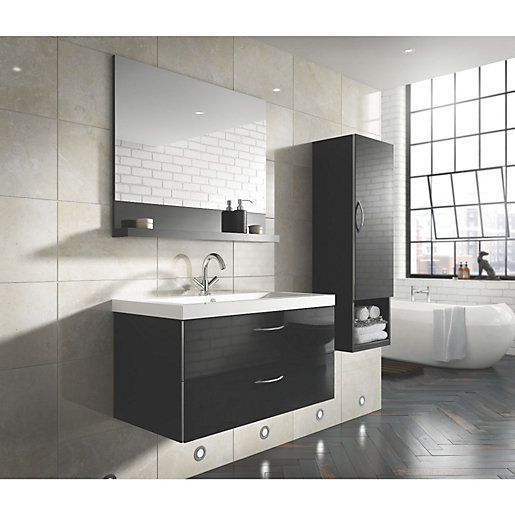 Bientina mirror and shelf black gloss 600mm - Bathroom cabinets black gloss ...