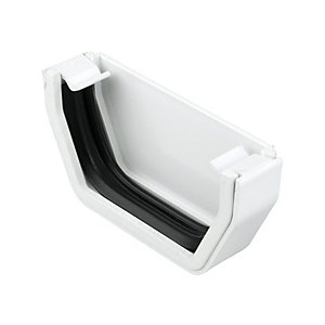 Squareline White Gutter Stopend External