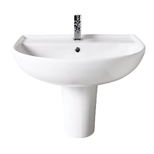 Wickes Renata Round Basin with Semi Pedestal 550mm