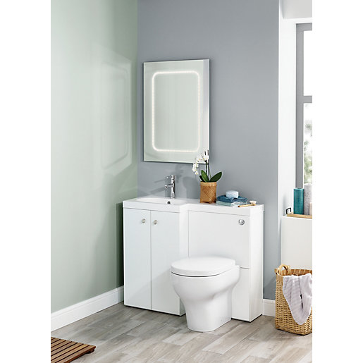 Wickes l shaped vanity unit and basin lh for Bathroom l shaped vanities