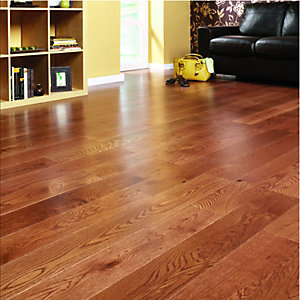 Wickes Butterscotch Oak Real Wood Top Layer Engineered Wood Flooring