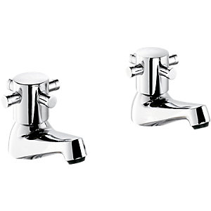 Wickes Orian Contemporary Basin Taps Chrome