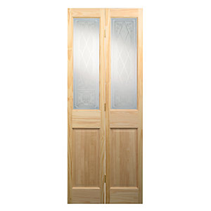 Wickes Skipton Internal Bi-fold Door Clear Pine Glazed 4 Panel 1981X686mm