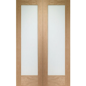 Wickes Oxford Glazed Internal Rebated Oak Veneer Door Pair 1981x1524mm