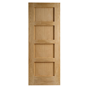 Wickes Marlow Internal Fire Door Oak Veneer 4 Panel 1981 x 762mm