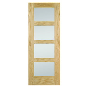 Oak Shaker 4 Light Obscure Glazed Internal Door 1981mm x 686mm x 35mm
