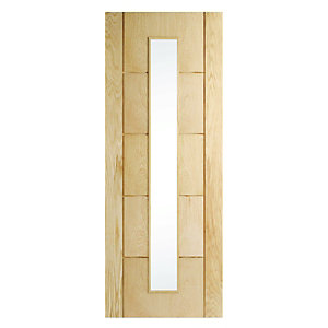 Wickes Thame Internal Oak Veneer Door Glazed 5 Panel 1981x686mm