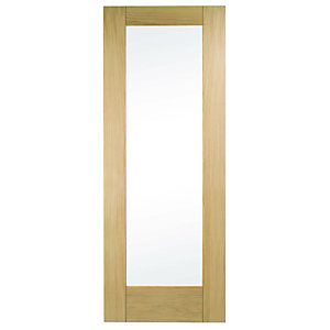Wickes Oxford Internal Oak Veneer Door Glazed 1 Panel 1981x762mm