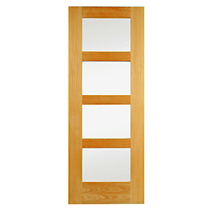 Wickes Marlow Internal Oak Veneer Door Clear Glazed 4 Panel 1981x762mm