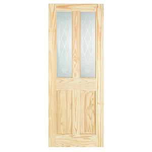 Wickes Skipton Internal Softwood Door Clear Pine Glazed 4 Panel 1981x686mm