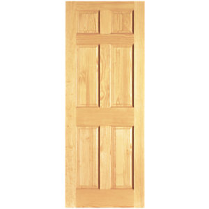Wickes Durham Internal Softwood Door Clear Pine 6 Panel 1981x610mm