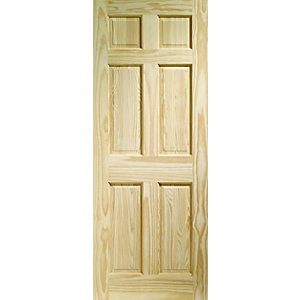 Wickes Durham Internal Fire Door Clear Pine 6 Panel 1981x686mm