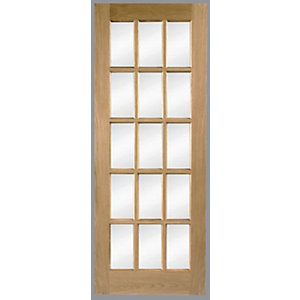 Wickes Hexham Internal Oak Veneer Door Glazed 15 Lite 1981x686mm