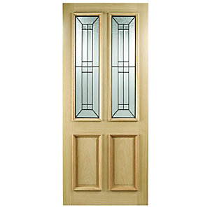 Wickes Malton External Oak Veneer Door Glazed 2 Panel 1981x762mm