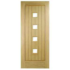 Wickes Sienna External Oak Veneer Door Glazed 2032 x 813mm