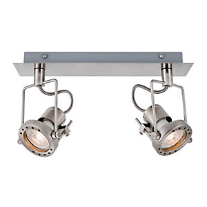 Wickes Studio LED 2 Bar Spotlight Brushed Chrome