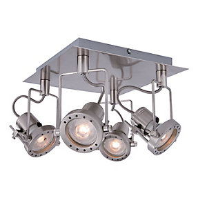 Wickes Studio LED 4 Plate Spotlight Brushed Chrome