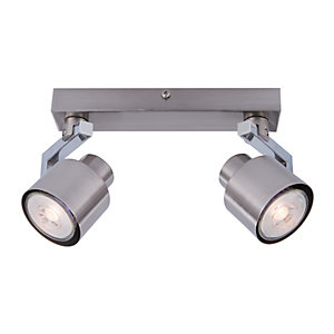 Wickes Boulevard LED 2 Bar Spotlight Brushed & Polished Chrome