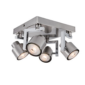 Wickes Boulevard LED 4 Plate Spotlight Brushed & Polished Chrome