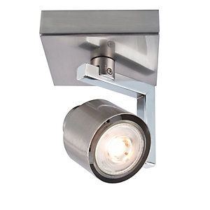 Wickes Boulevard LED Single Spotlight Brushed & Polished Chrome
