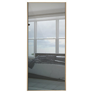 Wickes Sliding Wardrobe Door Wood Effect Framed Mirror Or Panel Custom Size 2, 901-1200mm