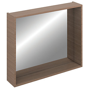 iflo Aliano Bathroom Mirror Box Walnut 900mm