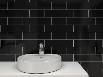 Tiles for your bathroom - White brick tiles black grout ...
