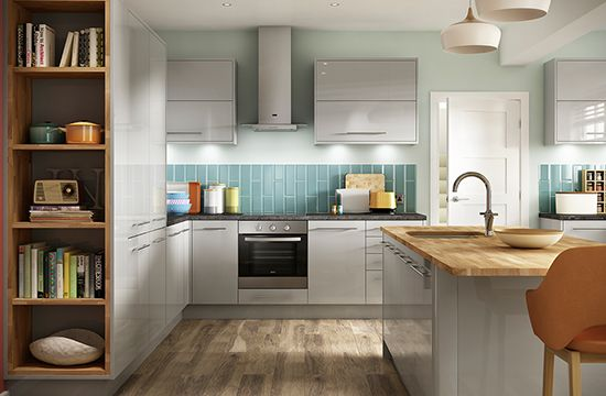 Eton Gloss Light Grey Kitchen Kitchen Range