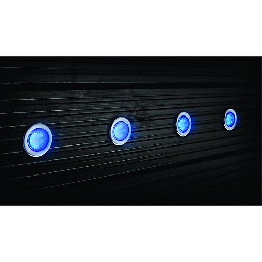 Outside Lights Wickes: Wickes Blue LED Deck Lights Extension Kit 45mm 4 Pack