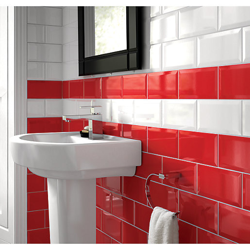 Wickes bevelled edge red gloss ceramic wall tile 200 x for Red tile bathroom ideas