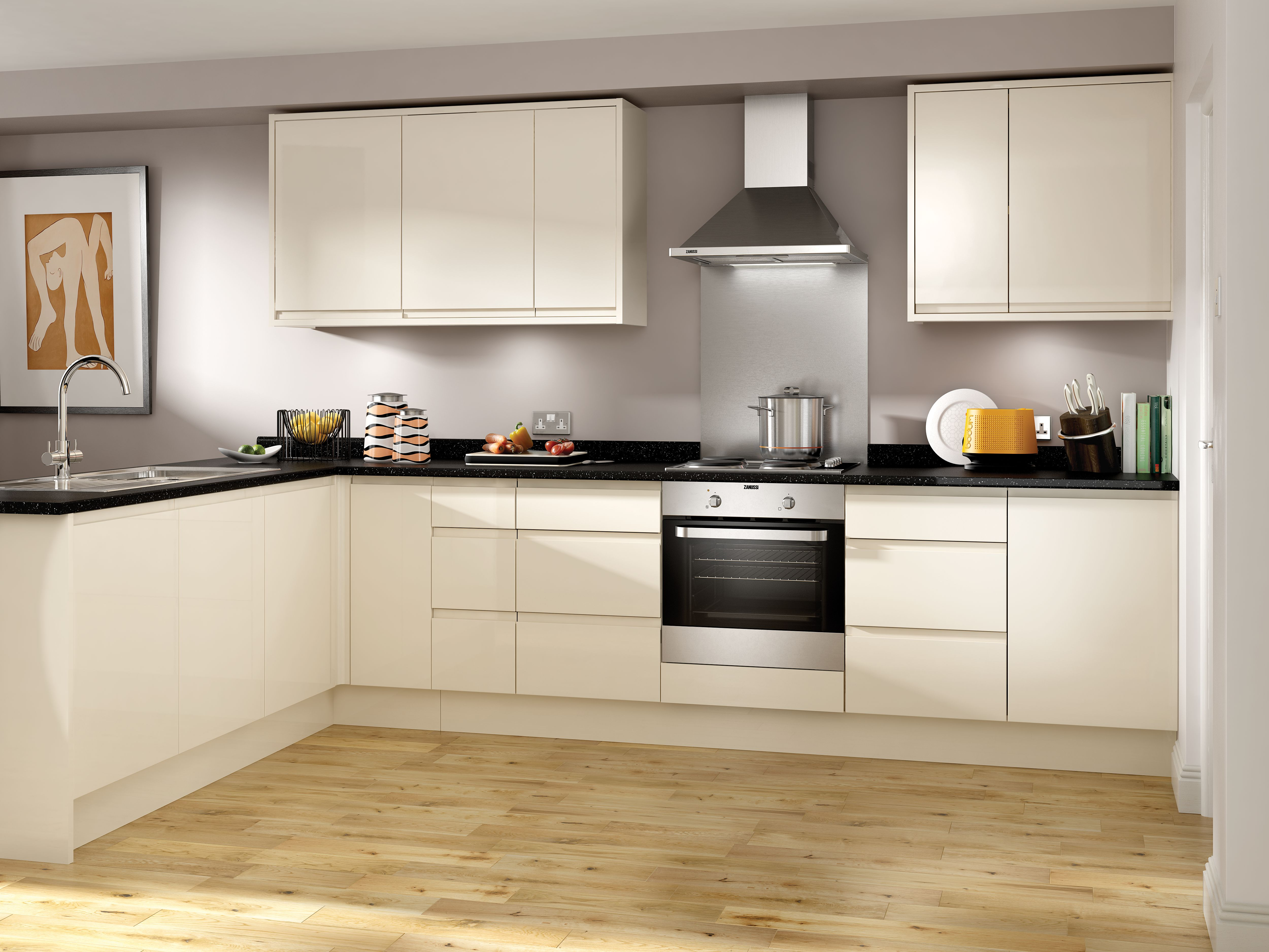 Captivating Madison Cream High Gloss Handleless