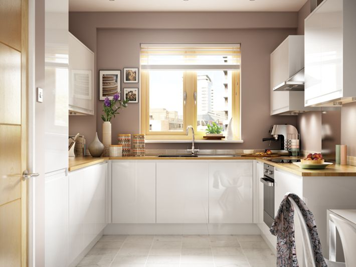 Madison white handle less kitchen for Wickes kitchen cupboards