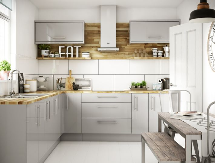 Orlando grey gloss kitchen for Kitchen units grey gloss