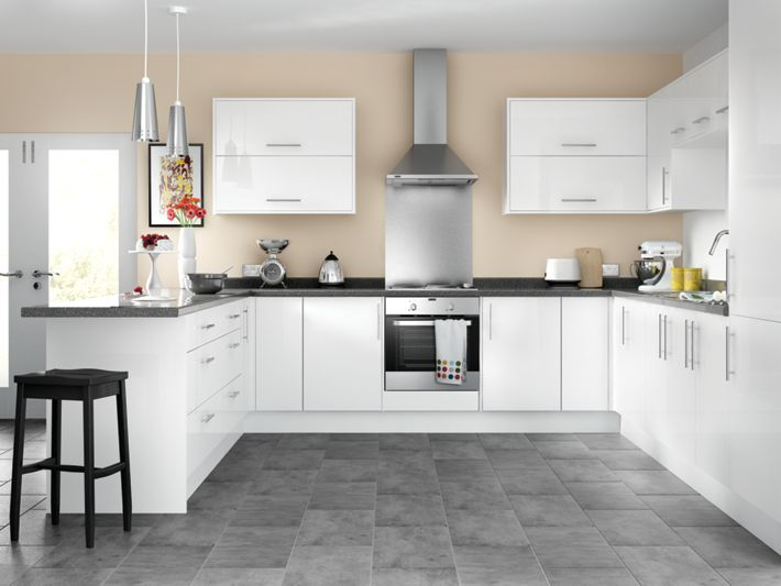 Orlando white high gloss kitchen for Wickes kitchen cupboards