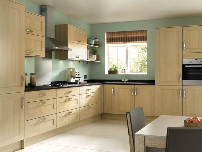 tulsa - oak effect shaker kitchen | wickes.co.uk