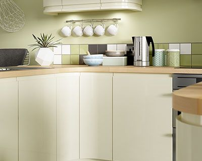Sofia cream gloss kitchen for Wickes kitchen cabinets