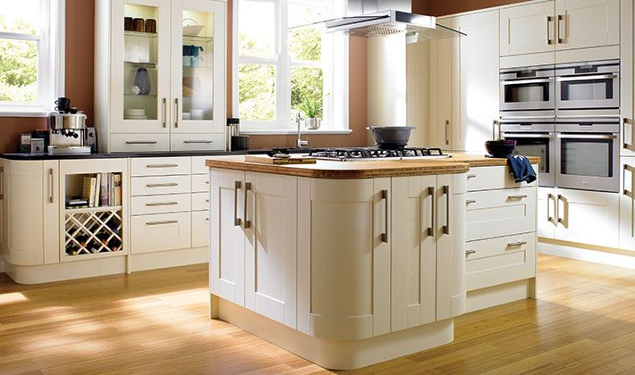 These stunning shaker style doors are crafted with solid oak frames and veneered centre panels and softly over-painted with a bone ... & Tiverton Bone Kitchen | Wickes.co.uk Pezcame.Com