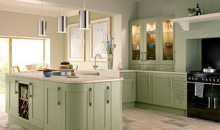 Tiverton sage green kitchen for Wickes kitchen cupboards