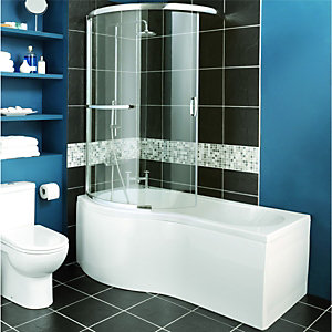 bath screens shower screens wickes aqualux polished silver aqua 4 clear glass 2 panel sliding
