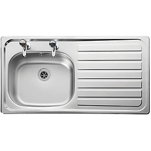 Leisure Lexin 2 Tap Hole 1 Bowl Rhd Inset Stainless Steel LN95R