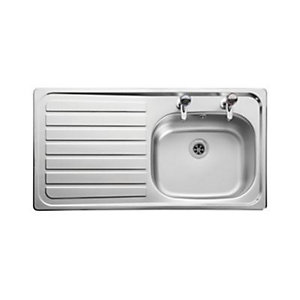 Leisure Lexin 2 Tap Hole 1.0 Bowl Left Hand Stainless Steel Inset Sink