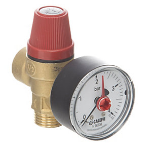 Altecnic Male x Female 3 Bar Safety Relief Valve Complete with Gauge 1/2in 314430
