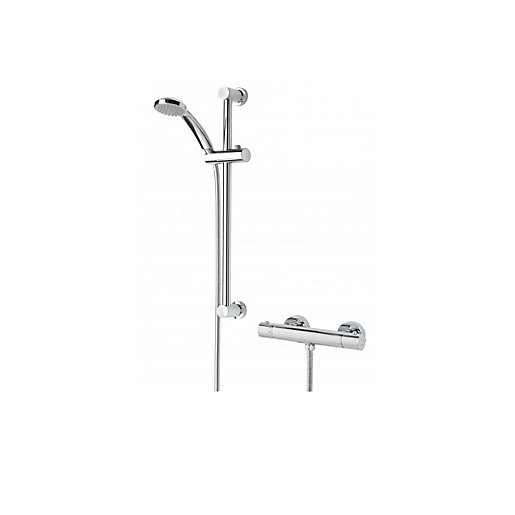 Bristan Frenzy Thermostatic Cool Touch Bar Shower Mixer with Fast Fix Kit & Adjustable Riser Kit