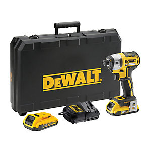 DeWalt XR 18V Cordless Brushless Impact Driver 2 X 2.0Ah Li-Ion Batteries TsTak Box & Multi-Voltage Charger DCF887D2-GB