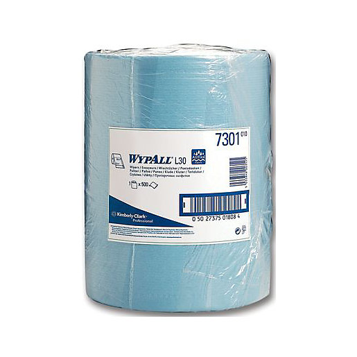 WYPALL L30 7300 Wipes Blue Roll 500 Sheet 300mm x 240mm 140093