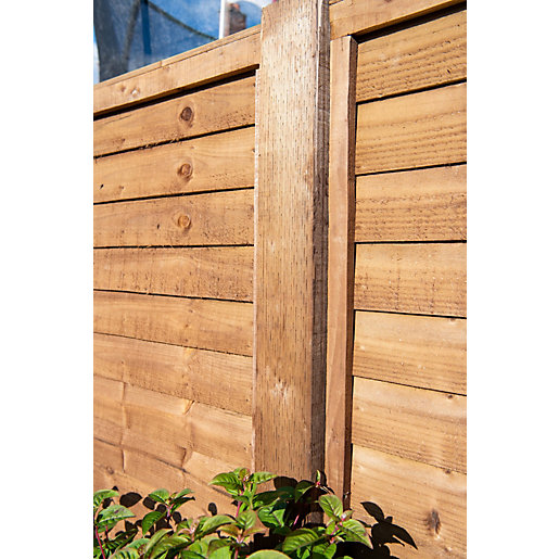 Travis Perkins Incised Pressure Treated Fence Post UC4 Brown 75mm x 75mm x 2400mm (Minimum Order Qty of 2)