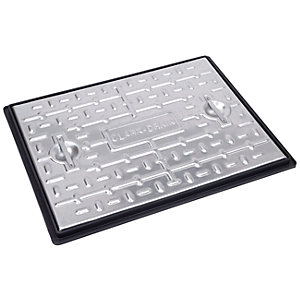 Clark Drain Manhole Cover and Frame Galvanised Steel 450mm x 600mm 5 Tonne