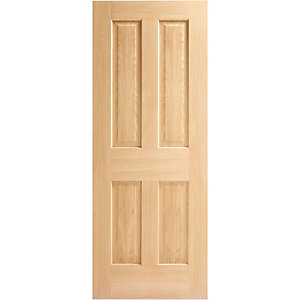 Hardwood Oak Victorian 4 Panel No Raised Mouldings Internal Door