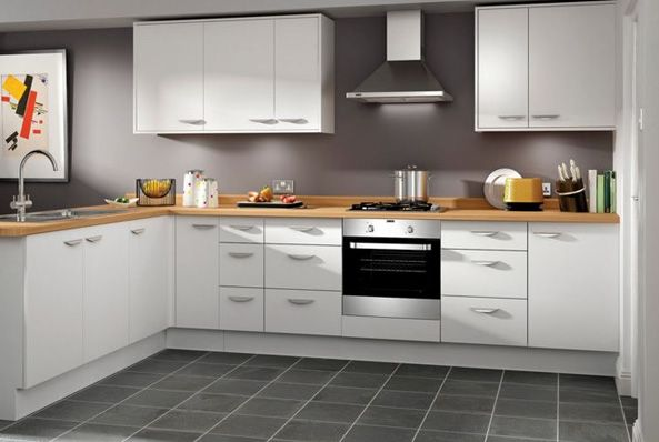 Dakota - White slab kitchen | Wickes.co.uk