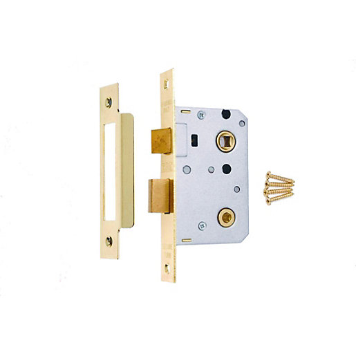 5 x 4Trade Bathroom Lock Brass 64mm